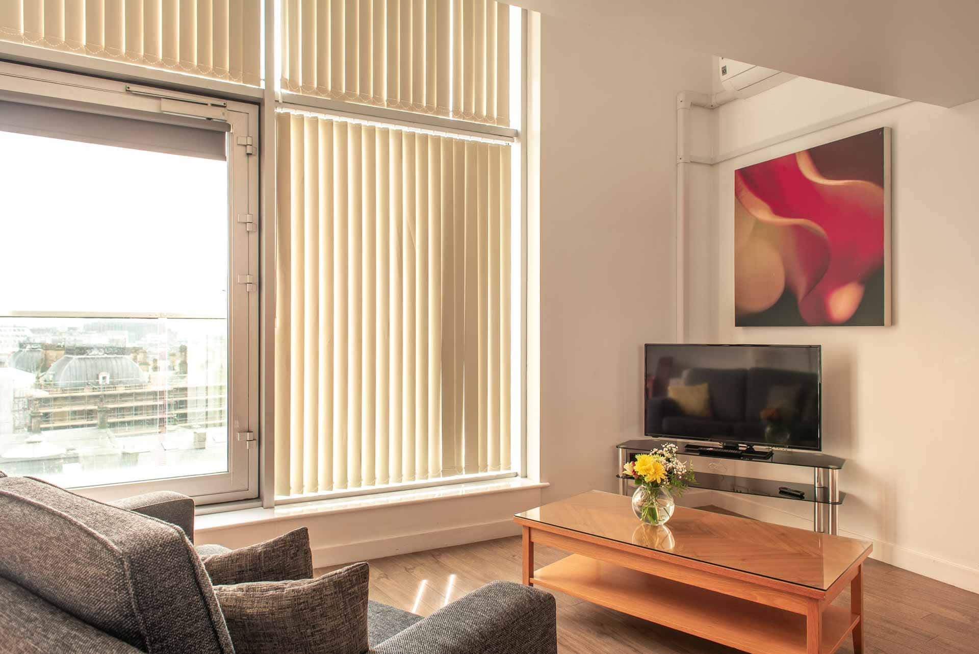 Blinds in living area at Premier Suites Liverpool, Centre, Liverpool - Citybase Apartments