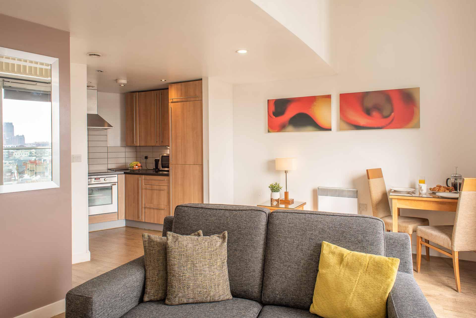 Kitchen/living area at Premier Suites Liverpool, Centre, Liverpool - Citybase Apartments