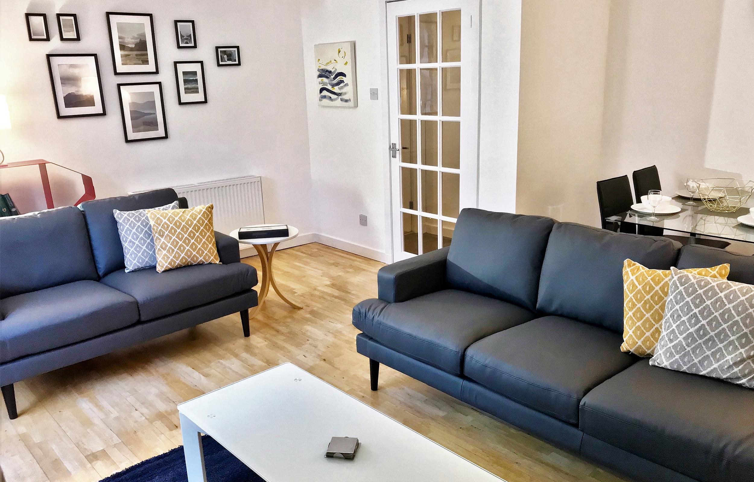 Living area at Lansdowne Garden Apartment - Citybase Apartments