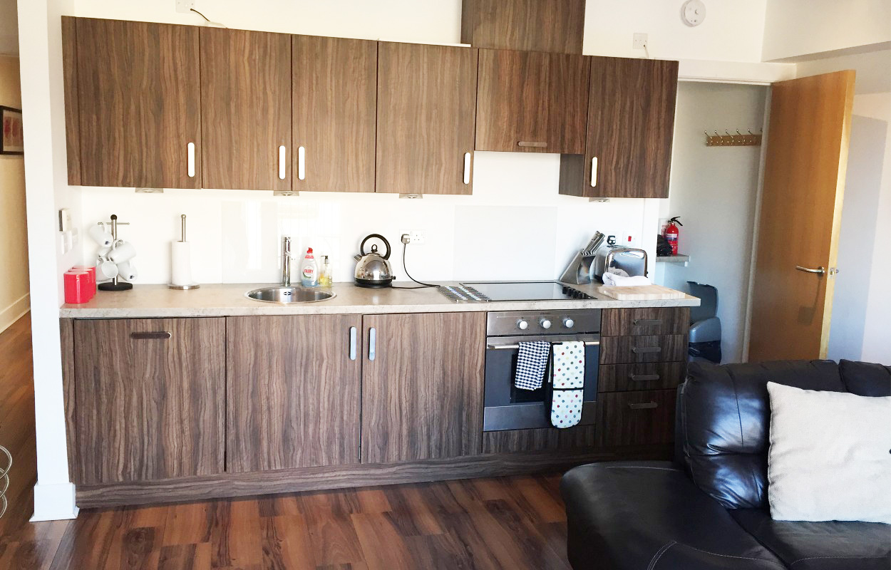 Equipped kitchen at Virginia Galleries Apartment - Citybase Apartments