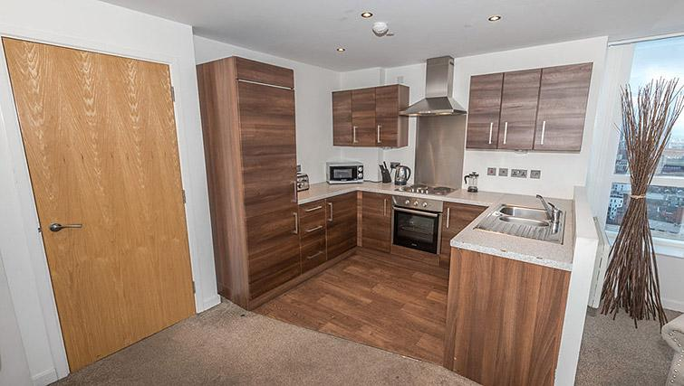 Kitchen facilities at Dream Apartments Belfast Obel - Citybase Apartments