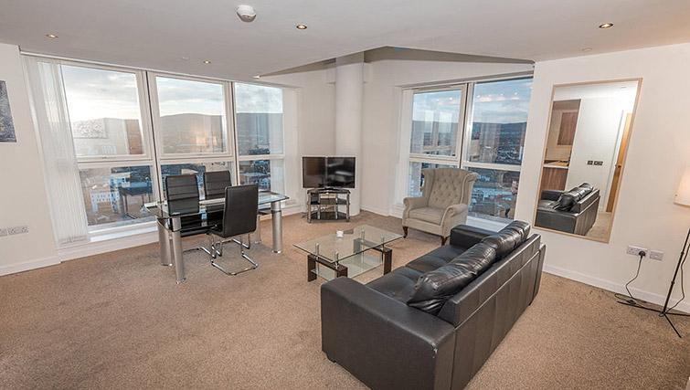 Stylish living area at Dream Apartments Belfast Obel - Citybase Apartments