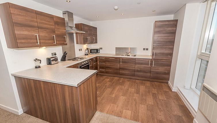 Large kitchen at Dream Apartments Belfast Obel - Citybase Apartments