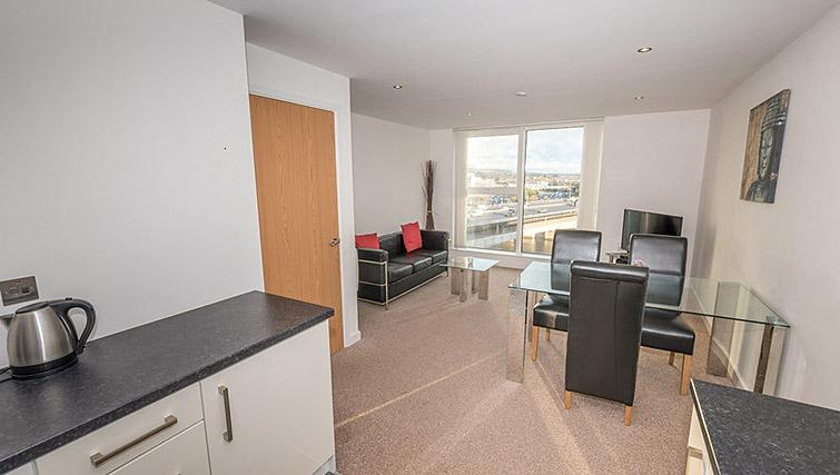 Open plan living area at Dream Apartments Belfast Obel - Citybase Apartments