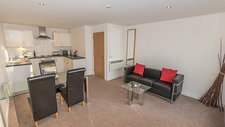 Living space at Dream Apartments Belfast Obel - Citybase Apartments