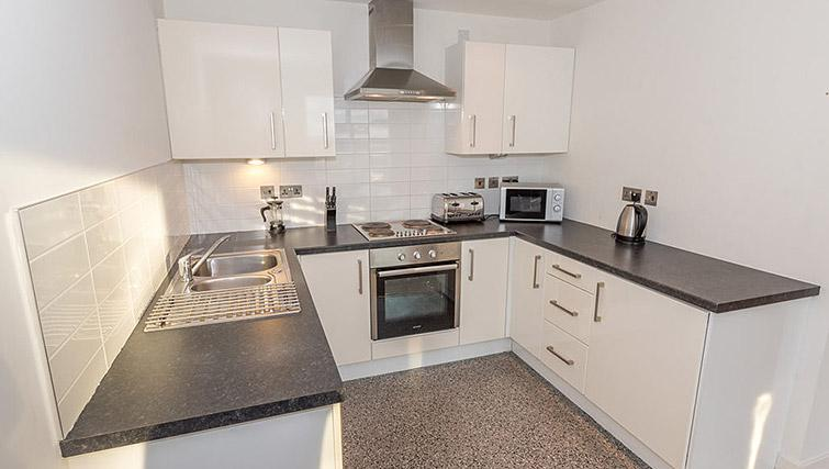 Kitchen at Dream Apartments Belfast Obel - Citybase Apartments