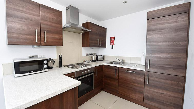 Modern kitchen at Dream Apartments Belfast Obel - Citybase Apartments
