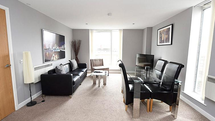 Living area at Dream Apartments Belfast Obel - Citybase Apartments