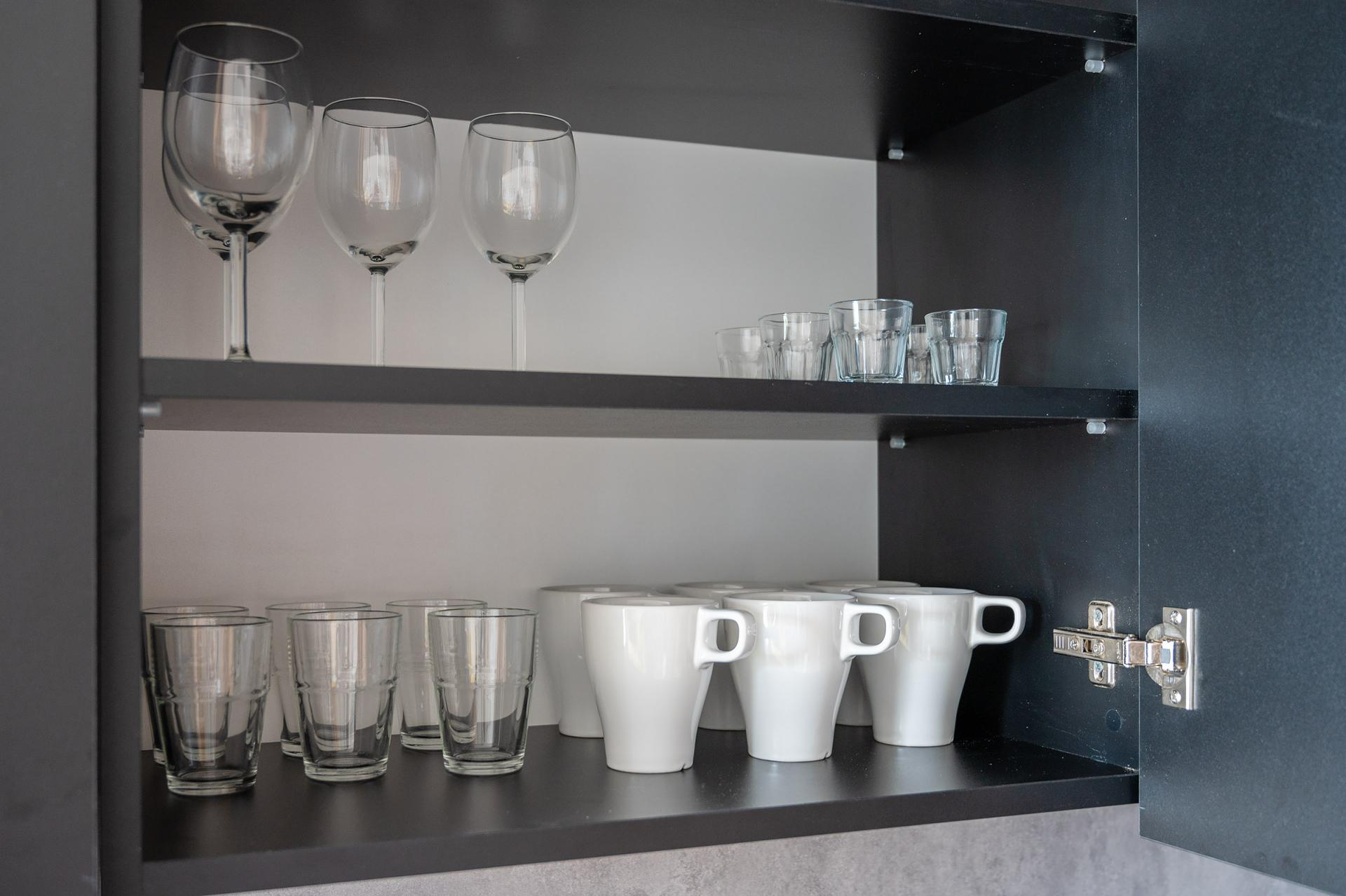 Glasses at Cybernetyki 4 Apartment, Sluzewiec, Warsaw - Citybase Apartments