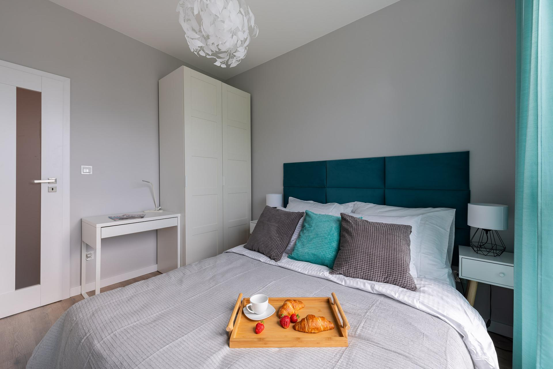 Comfortable bed at Cybernetyki 4 Apartment, Sluzewiec, Warsaw - Citybase Apartments