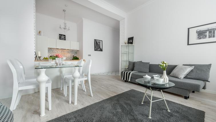 Stylish living area at P&O Apartments Andersa - Citybase Apartments
