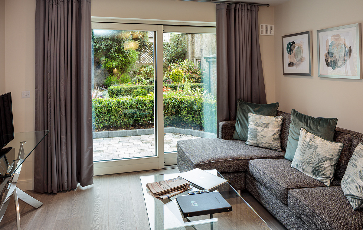 Living area at Baggot Rath House Apartments, Ballsbridge, Dublin - Citybase Apartments