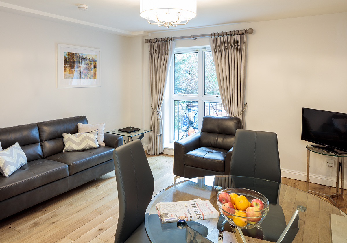 Living/Dining at Baggot Rath House Apartments, Ballsbridge, Dublin - Citybase Apartments