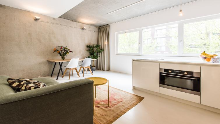 Open plan living space at Houthavens Serviced Apartments, Amsterdam - Citybase Apartments