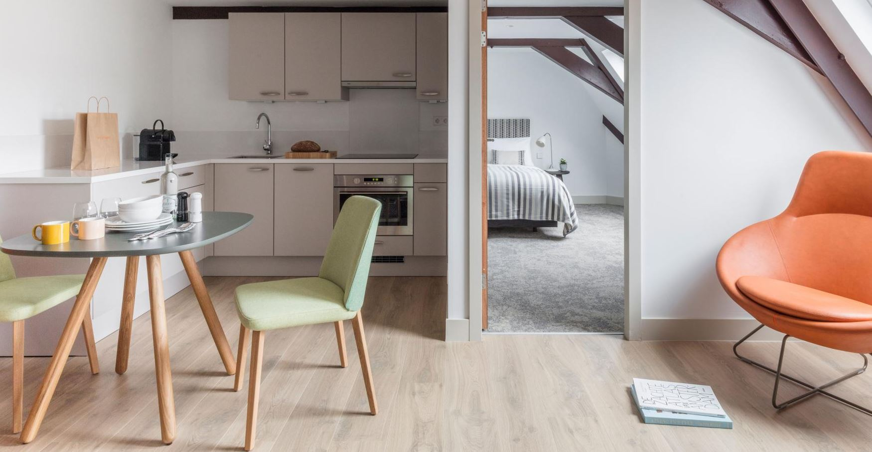 Modern kitchen area at The Wittenberg Apartments, Amsterdam - Citybase Apartments
