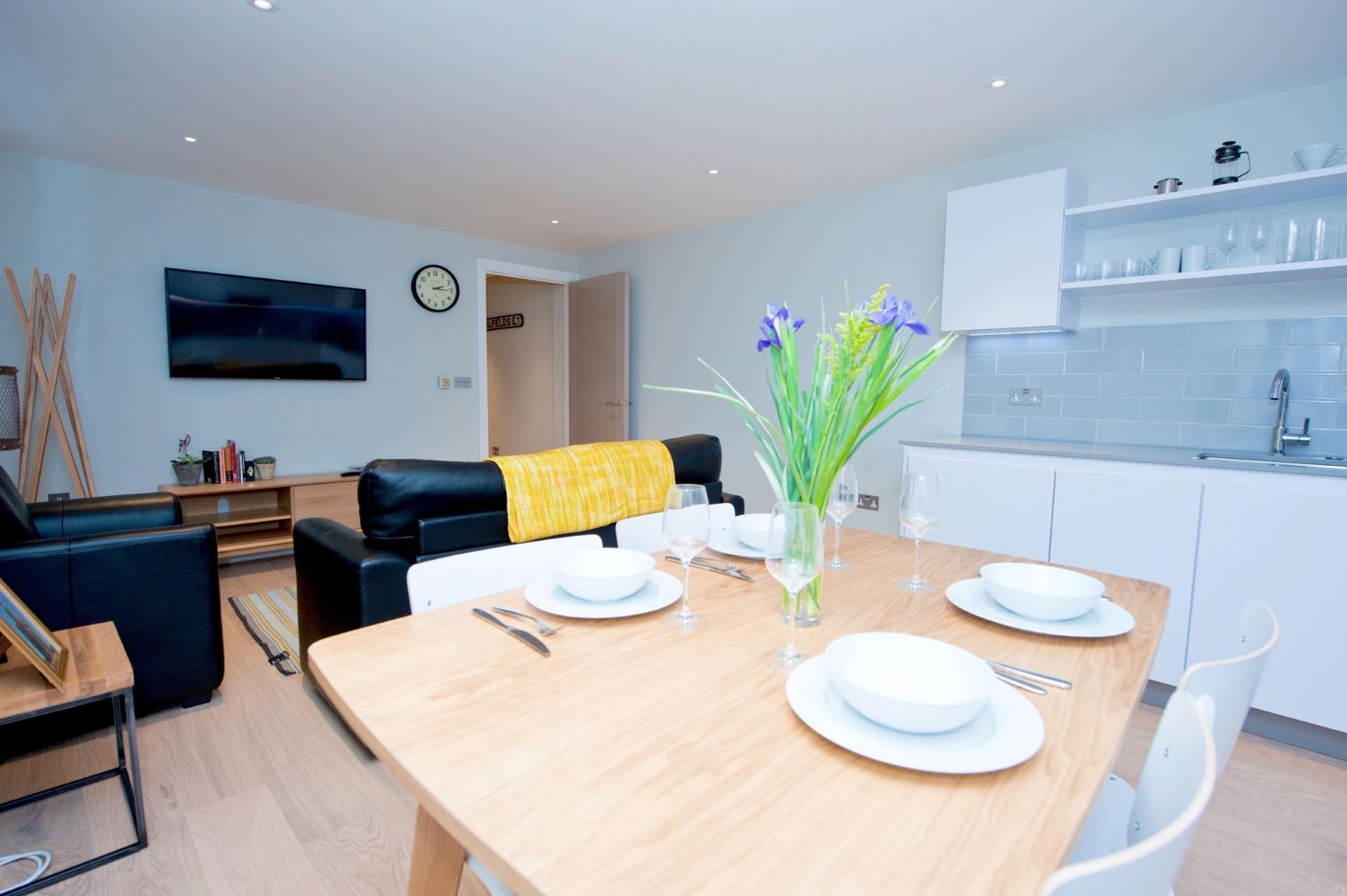 Dinnerware at Spitalfields Hanbury Apartment - Citybase Apartments