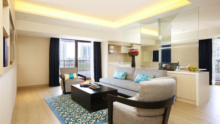 Living area in 1 bed at Village Hotel Katong, Singapore - Citybase Apartments