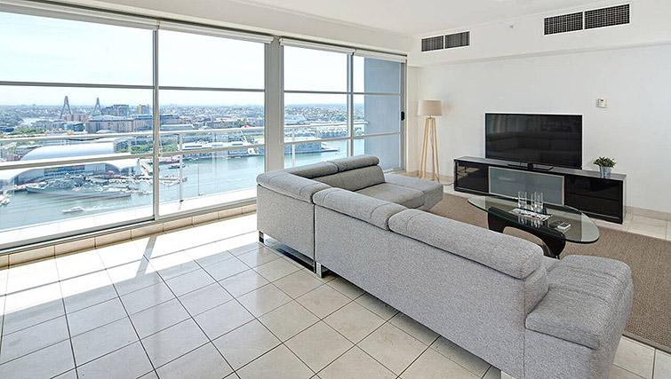 Living area at Mid Town Sydney Apartments - Citybase Apartments