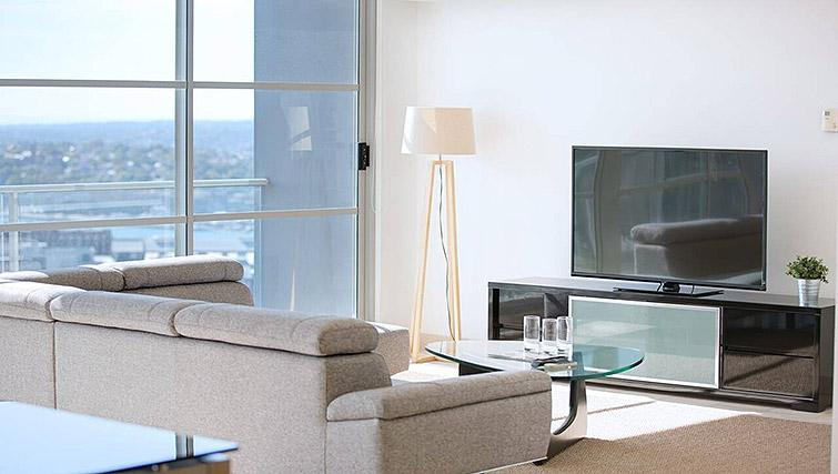 Living room at Mid Town Sydney Apartments - Citybase Apartments