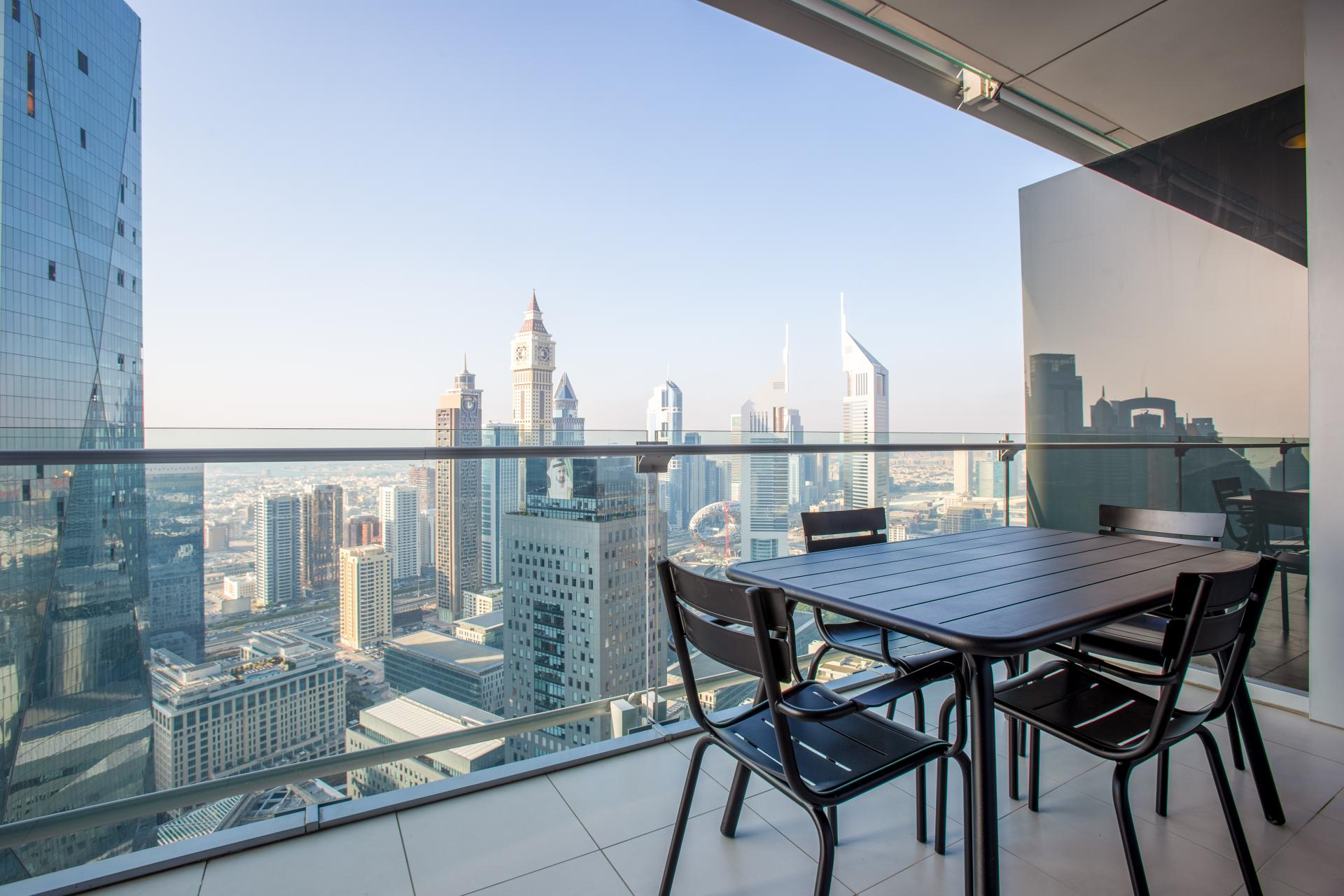 Balcony view from The Burj Daman Apartment, Financial District, Dubai - Citybase Apartments