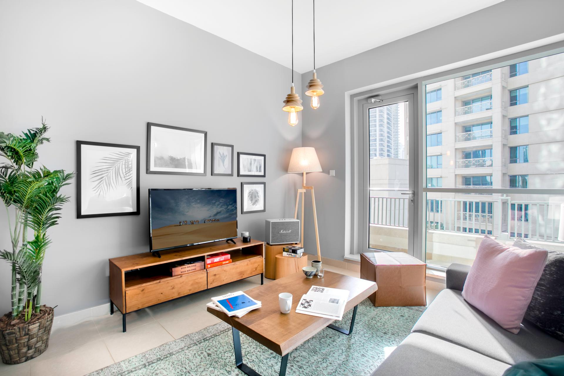 Living room at Boulevard Central Apartment - Citybase Apartments