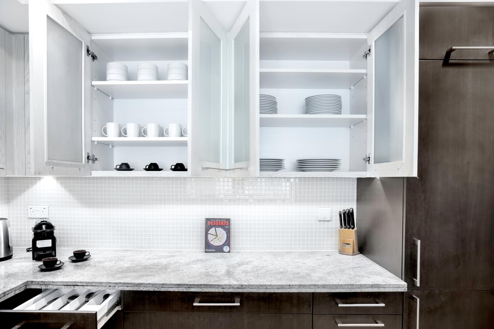 Kitchen storage at Boulevard Central Apartment - Citybase Apartments