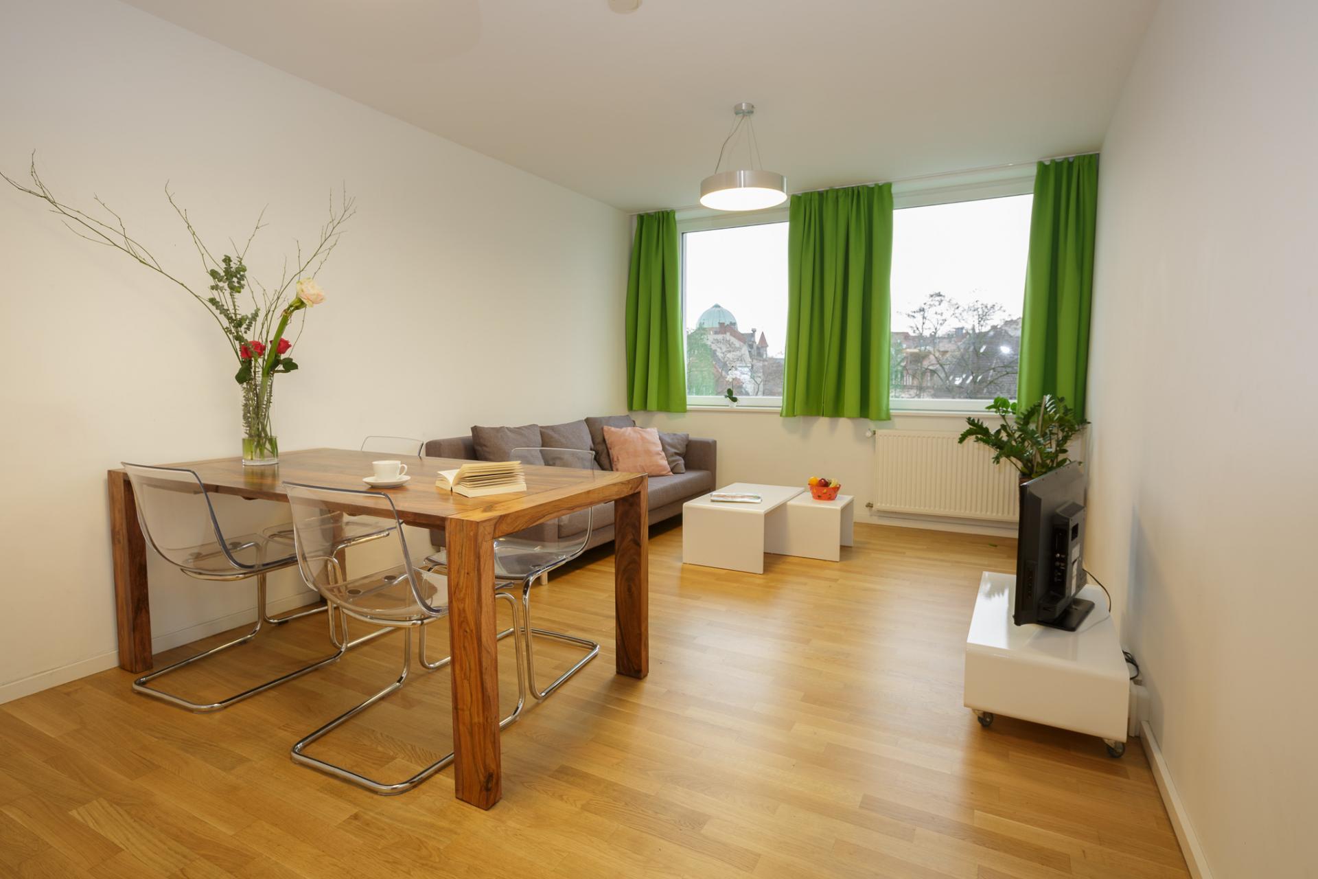 Living room at Brera Am Plaerrer 2 Apartments - Citybase Apartments
