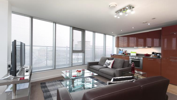 Living room at Crown Court View Apartment - Citybase Apartments