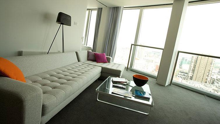 Spacious living area at Staying Cool at The Rotunda - Citybase Apartments