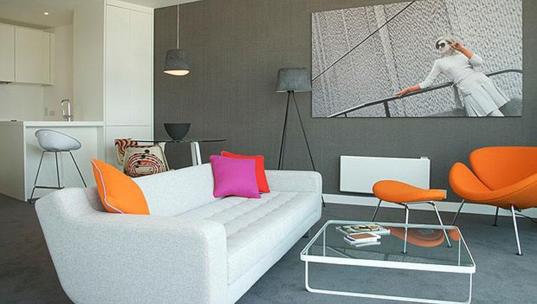 Stylish living area at Staying Cool at The Rotunda - Citybase Apartments