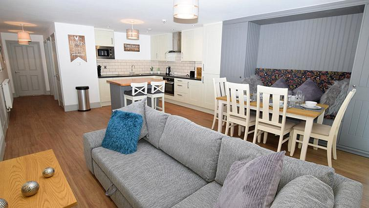 Open plan living area at Oakfield Place Apartment - Citybase Apartments