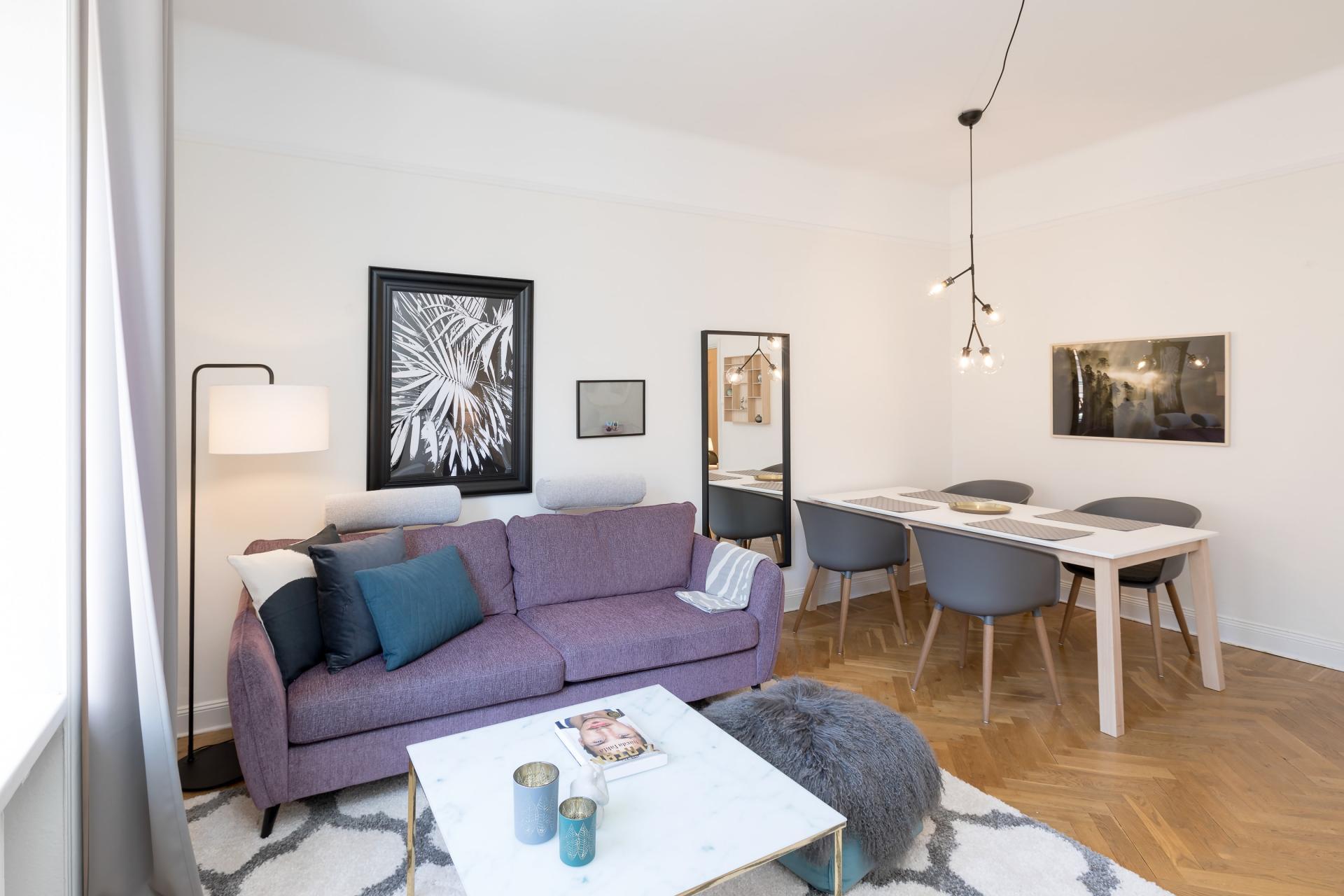 Living area at Pontonjärgatan Apartments, Marieberg, Stockholm - Citybase Apartments