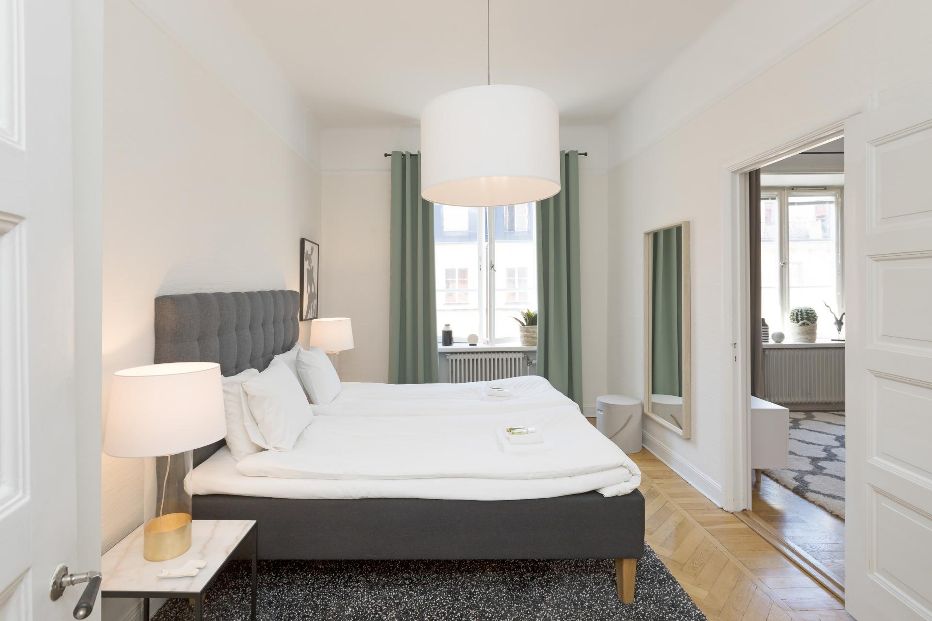 Bed at Pontonjärgatan Apartments, Marieberg, Stockholm - Citybase Apartments