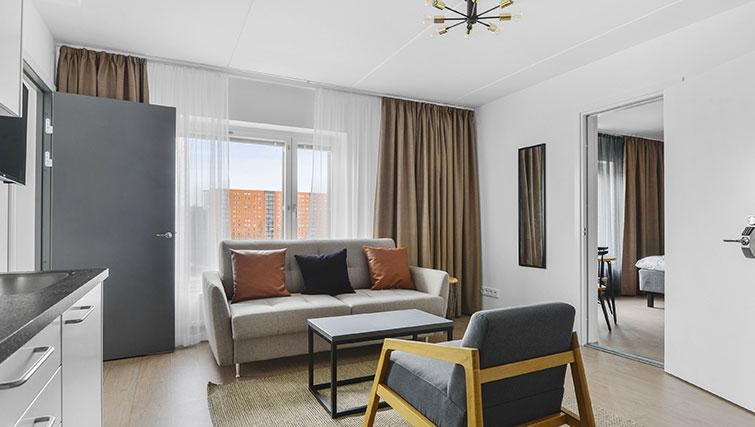 Spacious lounge at Stockholm South Apartments - Citybase Apartments