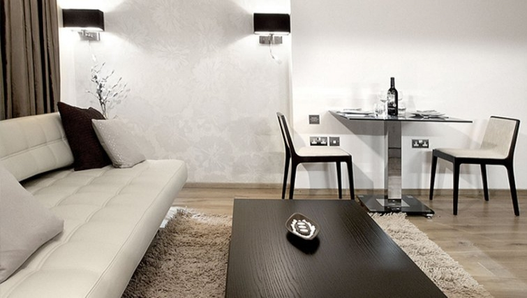 Modern living area in Space Apartments - Citybase Apartments