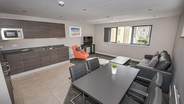 Open plan dining area at Dream Apartments Lisburn Road - Citybase Apartments