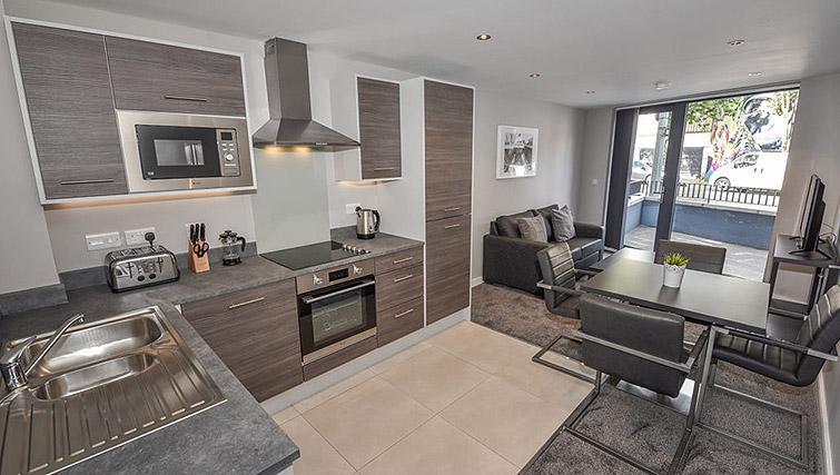 Open kitchen at Dream Apartments Lisburn Road - Citybase Apartments