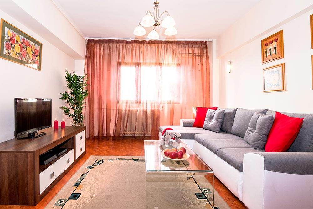 Bright living room at Odeon Apartment, Old Town, Bucharest - Citybase Apartments