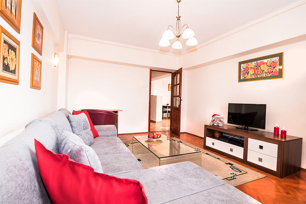 Sofa at Odeon Apartment, Old Town, Bucharest - Citybase Apartments