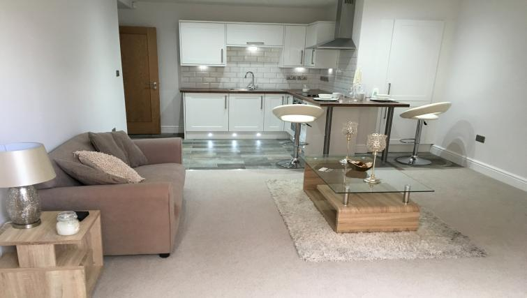 Open-plan living area at Wenlock The Keyes Apartments - Citybase Apartments