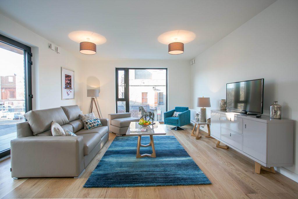 Living area at Hanover Mills Apartments, North Wall, Dublin - Citybase Apartments