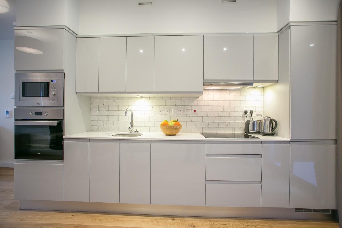 Sleek kitchen at Hanover Mills Apartments, North Wall, Dublin - Citybase Apartments