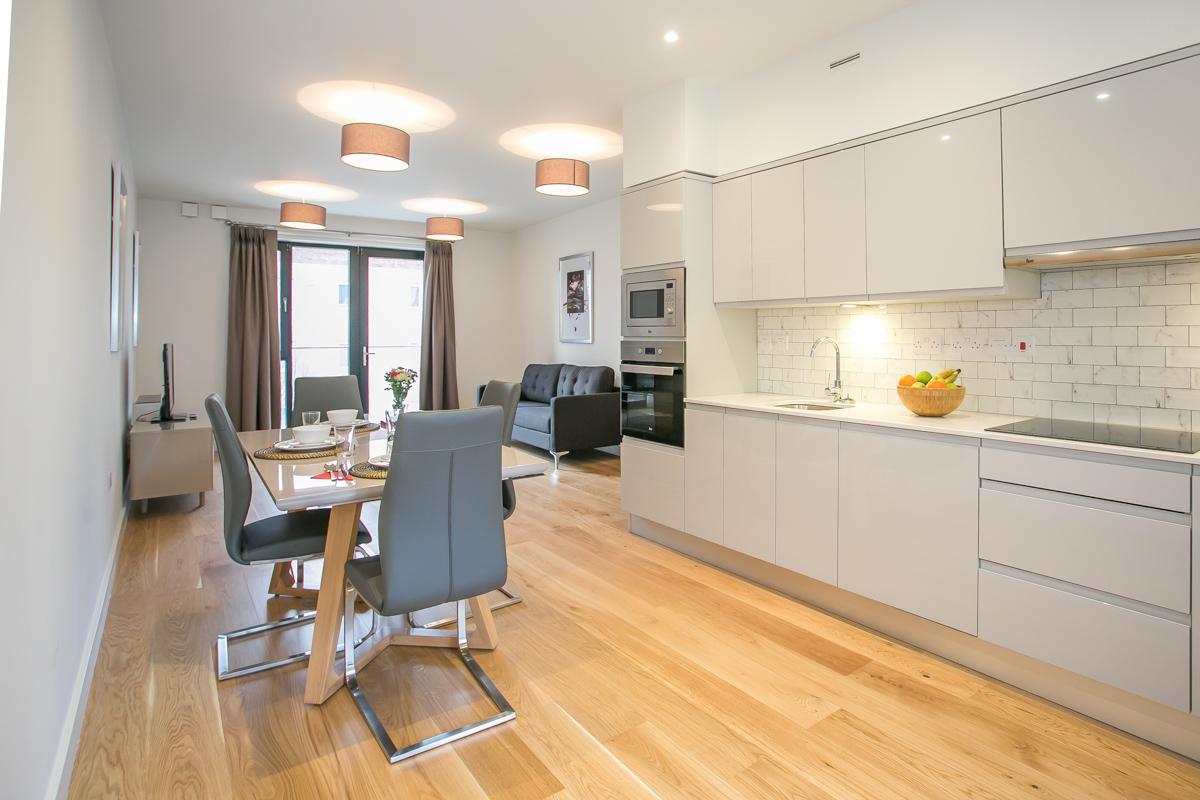 Kitchen diner at Hanover Mills Apartments, North Wall, Dublin - Citybase Apartments
