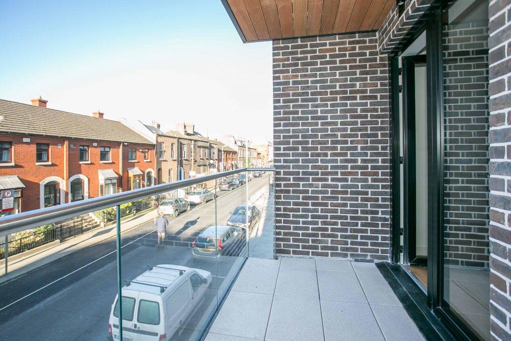 Balcony at Hanover Mills Apartments, North Wall, Dublin - Citybase Apartments