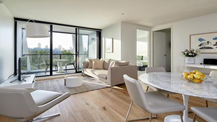 Cosy living area at the 381 Cremorne Apartments - Citybase Apartments