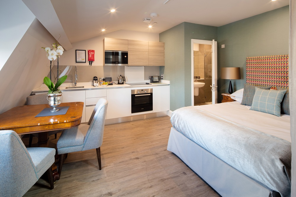 Open-plan living area at  Beech House Serviced Apartments - Citybase Apartments