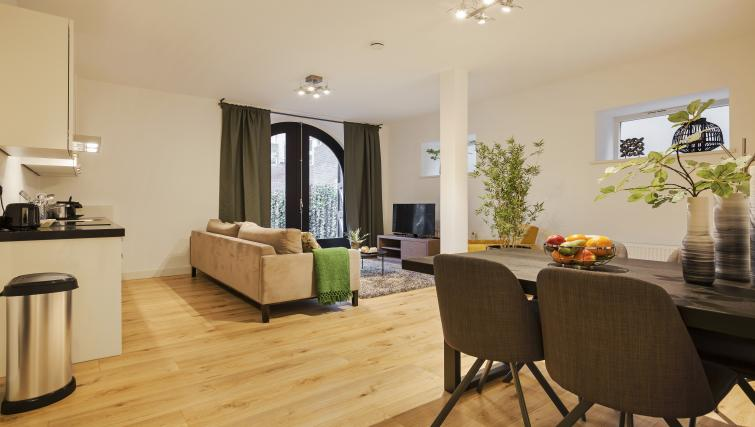 Living room at the Zwaansteeg Canal Garden Apartments - Citybase Apartments