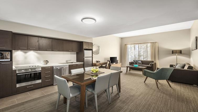 Living room at Quest Albury on Townsend Apartments - Citybase Apartments
