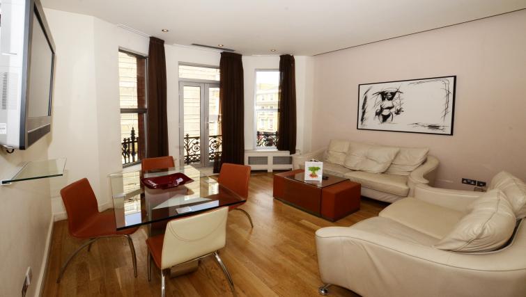 Large living area at 1 Harrington Gardens - Citybase Apartments