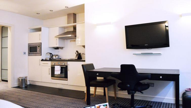 Kitchen in studio at 1 Harrington Gardens - Citybase Apartments